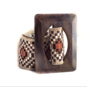 Anthro Nest Woven Tribal Fabric Belt Wood Buckle